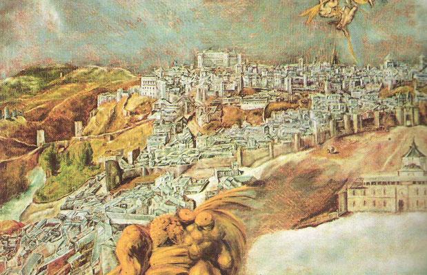 idem, Detail mit Alcantarabrücke  Alcazar und Kathedrale rechts