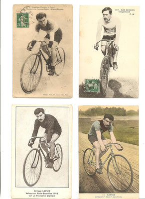 cartes postales belle Echappée coureurs cyclistes 1912