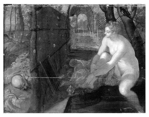 Jacopo Tintoretto, Susanna, Wien KHM, Infrarotreflektogramm