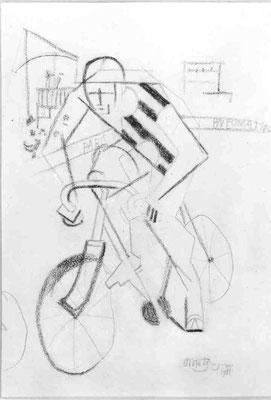 Jean Metzinger, Le cycliste, 1912, schw. Farbstift 35,5x26cm, Paris MNAM.