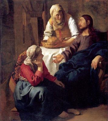 Jan Vermeer, Jesus bei Maria und Martha, 1654-56, Edinburgh, Nat.Gall. of Scotland, Lw.160x141cm (konventioneller Deute- oder Redegestus)