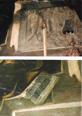 Gesuiti, Details: Sarkophagrelief Opfer Noahs; aufgeschlagene Bibel