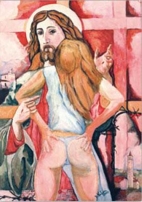 Domenico Nodari (1953-1992) Lw.70x50cm, tecnica mista Adultera 1988