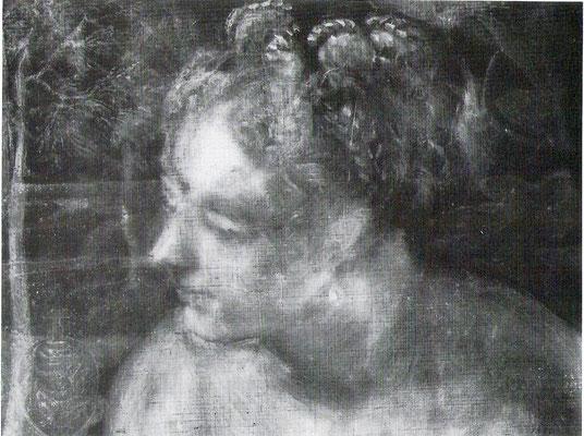 idem, Susanna, Wien KHM, Radiographie der Kopfzone: Väschen neben der Schulter