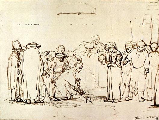 Rembrandt van Rijn, Federeichnung zur Ehebrecherin