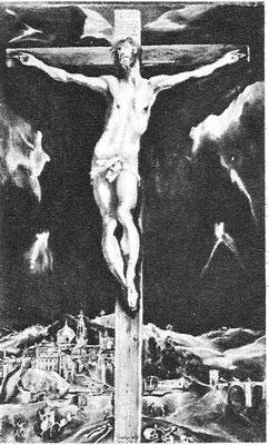 El Greco,der Gekreuzigte vor Jerusalem/Toledo, Lw.111x69cm,Madrid, Banco Urquijo