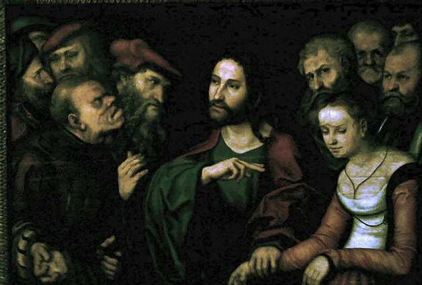 "Lukas Cranach d.J. (?) Budapest, Ht. 82,5x121cm ""1532"""