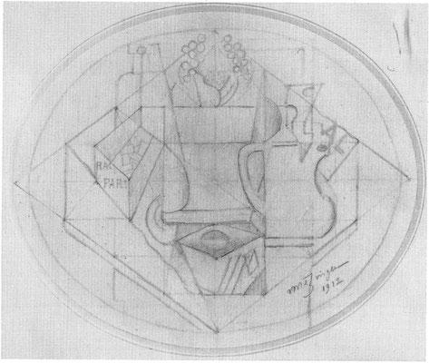 Jean Metzinger, nature morte 1912, 21x25cm; Mus. nat. d'Art Moderne Paris