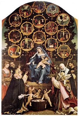 Lorenzo Lotto Madonna del Rosario 1539 Cingoli, San Domenico