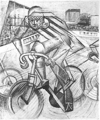 Fälschung Metzinger, Le cycliste a vélodrome Öl/Lw mit Sand 55x46cm (Enghien 1989)
