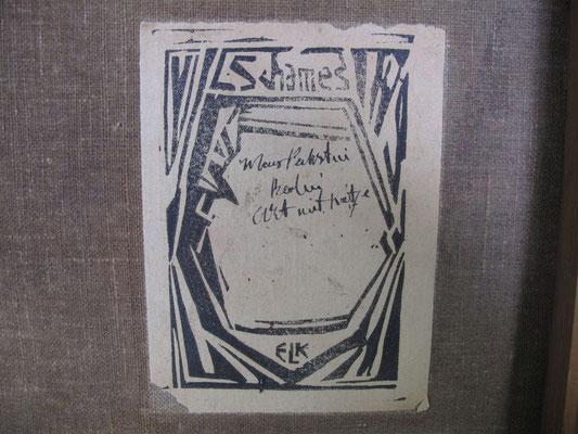 """gefälschte Etikette """"Galerie Schames"""""""