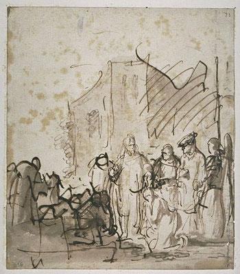 Rembrandt van Rijn, lavierte Zeichnung Paris Louvre