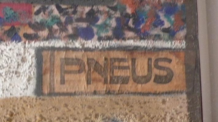 """idem Collage """"Pneus..."""", Sand in der Malfarbe"""