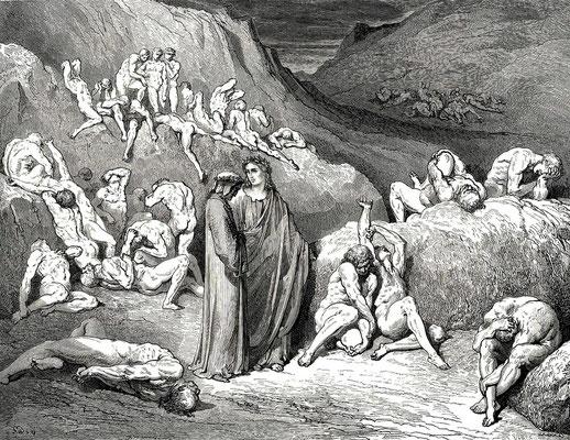 Gustave Doré  1857 Illustration zu Dantes Inferno, Canto 29,56 die Fälscher