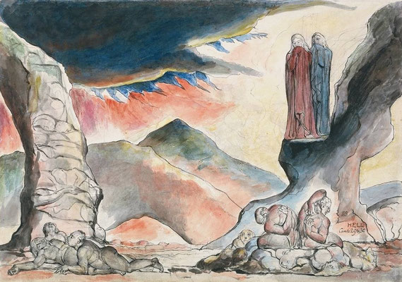 William Blake 1838 Dante-Illustration  (Bentley 448.6; Coll. R.Essick) The pit of disease: falsifiers