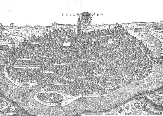 Toledo-Stich v.1585; Blick von Süden, Alcantarabrücke rechts, Alcazar unfertig, Marienstatue auf der Turmspitze? Die ummauerte Schräge von der Brücke zum Alcazar vermutlich das Wasserhebewerk Turrianis