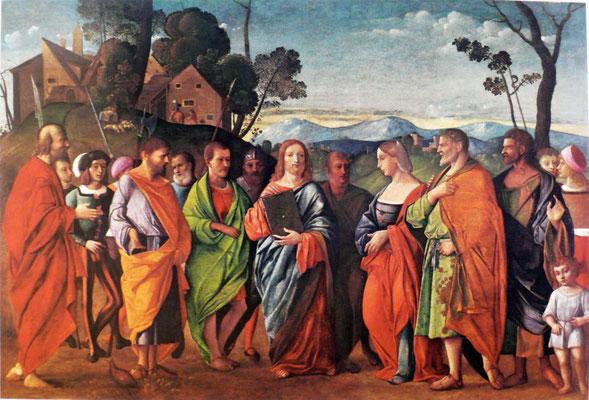 Giovanni Cariani (um 1485-1547 Venedig), Privatbesitz Novara,Lw.115x170cm
