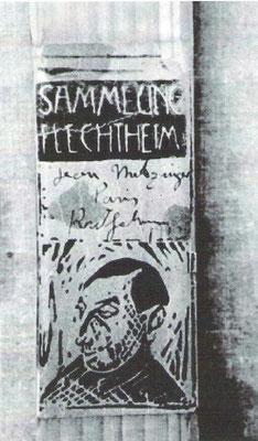 """gefälschte Etikette Galerie Flechtheim (Metzinger """"Radrennen"""")"""