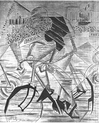 Fälschung Metzinger, Le cycliste, Aquarell 46x38 (Drouot 1994)