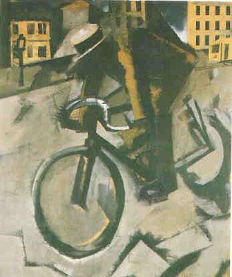 Mario Sironi (1885-1961), Il ciclista 1916, Tempera/Collage auf Pappe, 75,5x64,5 privat