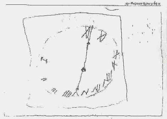 """Paul Klee, linkshändige Kinderzeichnung """"Uhr mit römischen Zahlen"""" 1884 KM Bern 12,5x 18cm"""