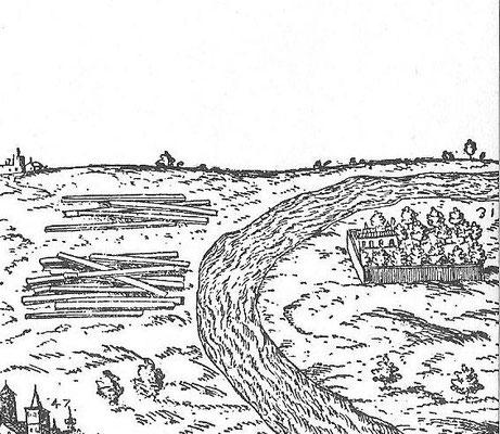 "Brambilla-Plan 1585 Detail oben rechts ""huertas del Rey"""