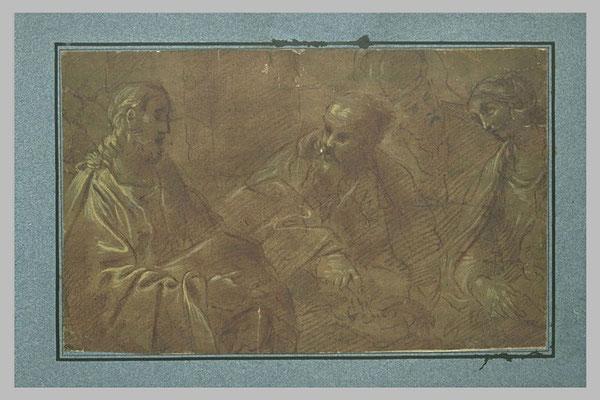 Giacomo Cavedone(Modena 1577-1660 Bologna) gehöhte Zeichnung Louvre