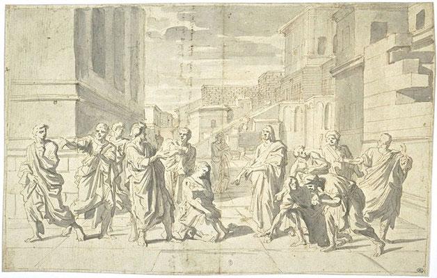 Nicolas Poussin (1593-1665), Entwurfszeichnung Louvre