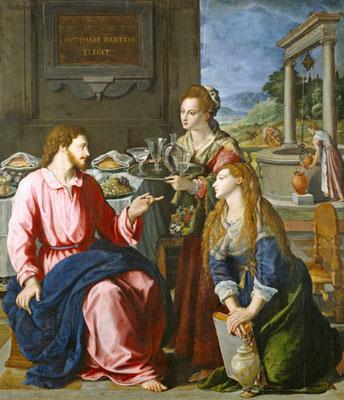 Alessandro Allori (1535-1607), Jesus bei Maria und Martha 1605, Wien K'h. Mus.