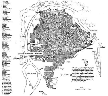 """Umzeichnung des Stadtplans in der """"Ansicht von Toledo"""""""