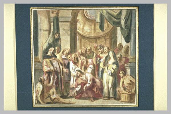Jacob I Jordaens(1593-1678 Antwerpen) Zeichnung zur E. in Gent, Louvre
