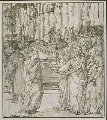 """Alessandro Allori (""""Peruzzi""""), Zeichnung 1577, Musée Napoleon, Louvre"""