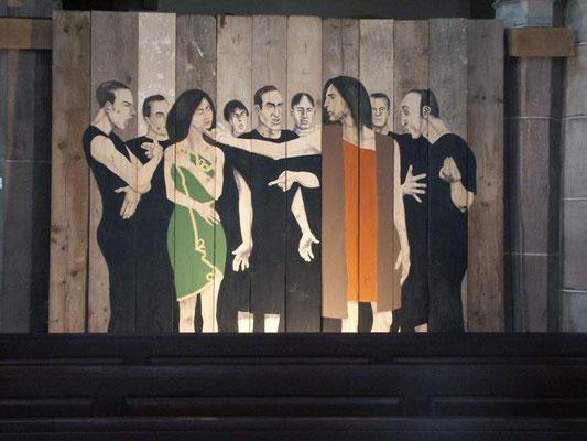 Christoff Baron(*1973) Inst. Fresko 2008 auf Holzbrettern in St.Gregoire de Ribéauville 2008