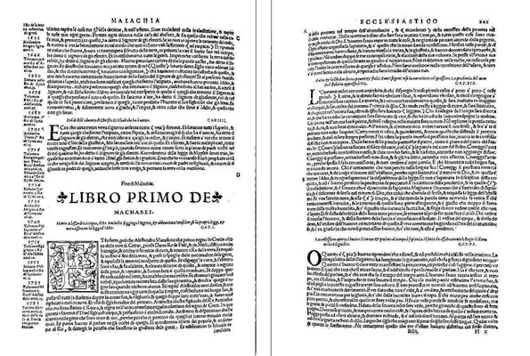 Sante Marmochino, Bibbia volgare 1538: Frontispiz Makkabäer und Merk-Seite 242
