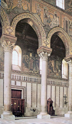 Monreale, Dom Blick ins Nordschiff Adultera-Mosaik ca 1180