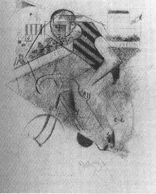 Jean Metziger,Le cycliste 1912, Kohle/Papier 34,5 x28cm, Smgl. R.Stanley Johnson, Chicago