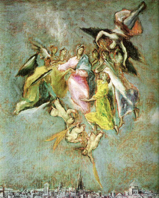 El Greco, Toledo-Plan Detail: Kathedralturm und Assunta/Immacolata darüber