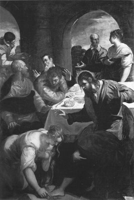 Tintoretto und Bottega, Magdalenas Salbung Jesu, 1562,  Padua Mus.civico (s.&d). 1562; Erstaunensgestus Christi