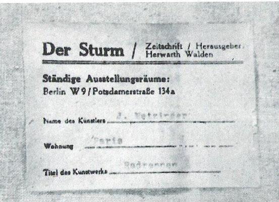 """Fälschung Metzinger, gefälschte Galerieetikette """"Galerie Der Sturm"""""""