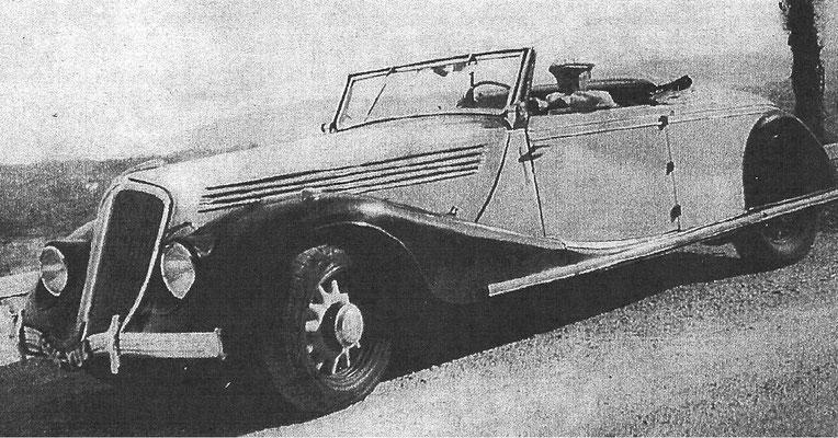 Metzinger 1930 in seinem Renault Nerva Stella Grand Sport