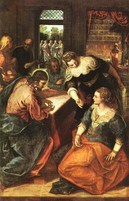 Jacopo Tintoretto, Jesus Martha und Maria (Lw. 197x131cm) München Alte Pinacothek