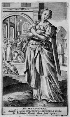 Carel.de Mallery (1571-1635), Ehebrecherin, Kupferstich