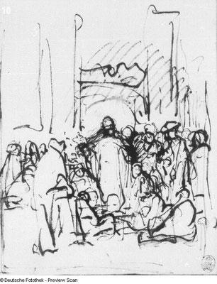 Rembrandt, Christus lehrend (Ehebrecherin) Tuschzeichnung, StKS Dresden