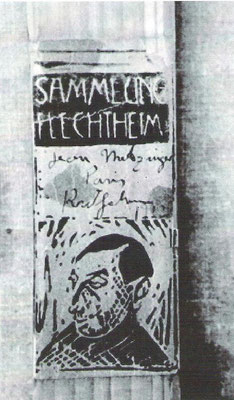 "Fälschung Metzinger, gefälschte Galerieetikette ""Galerie Flechtheim"""