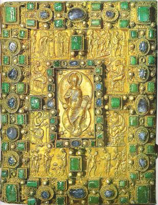 Codex Aureus v. St. Emmeran, Goldtreibarbeit von 870, Ehebr. links oben