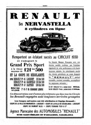 Metzingers Auto Renault Nerva Stella 1930 Sieger Liocourt am Circuit du Maroc (aus Zeitung Maroc)