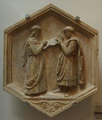 Luca della Robbia 1437-39, Florenz Campanile di Giotto: Euklid und Pythagoras als Repr. von Geometrie und Arithmetik; das Fingerzählen