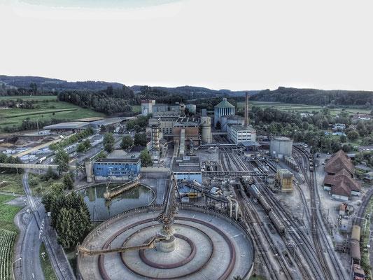 Zuckerfabrik Aarberg mit Drohne