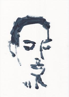 001 , acrylic on paper , 29.7 x 21cm , Selina Saranova
