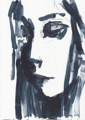 080 , acrylic on paper , 29.7 x 21cm , Selina Saranova